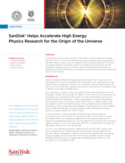 SanDisk Helps Accelerate High Energy Physics Research for the Origin of the Universe