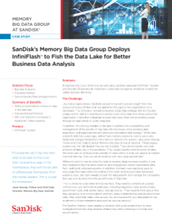 SanDisk's Memory Big Data Group Deploys InfiniFlash to Fish the Data Lake for Better Business Data Analysis